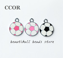 CCOR 10pcs DIY accessory zinc alloy Enamel Football Hang Pendant, Hang Charms Fit Diy Phone Strips,DZ0034