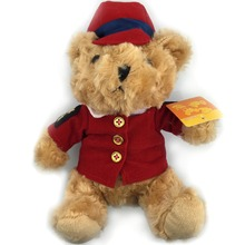 20CM Lovely Teddy Bear With Red Police Uniform Toys Stuffed Plush Doll Best Christmas Gifts Special Offer Free Shipping NT061B