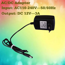 DC 12 Volts Power Supply for Led Strip Lights Ribbon Tape Power Plug 3A DC Head AC/DC Adaptor AC110-240V RGB Remote Controller