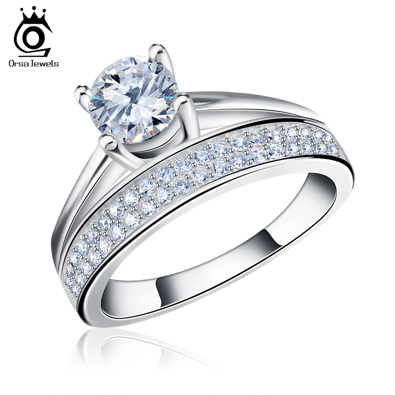 ORSA JEWELS Round Ring Engagement Rings 4 Prongs Setting Cubic Zircon Jewelry Women Love Bague Anillos Mujer OR107