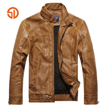 Faux Leather Coat Men Fashion 2017 Autumn Winter Mens Motorcycle Leather Jackets Jaqueta De Couro Masculina M-3XL Clothing Male(China)