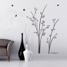 new branches tree birds butterfly vinyl wall art decals living room indoor decor diy black removable decals decoration