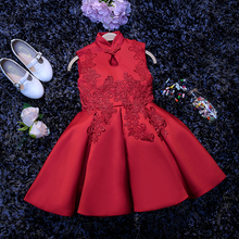 2017 Red Cheongsam Girls Flower Catwalk Show Dress Baby Ball Gown Birthday Wedding Princess Party Dress