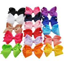 16pcs 4.7 Inch Fashion Big Hair Ribbon Bows For Girls' Hair Accessories Wholesale Boutique Large Bow Hair Clips Kids Hairpins(China)