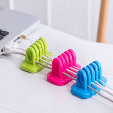 Multipurpose Wire Cord Cable Drop Clips Ties USB Charger Holder Silicone Organizer With Adhesive Desk Tidy Wire QB878279