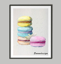 Original New watercolor Cake canvas painting Kitchen wall art poster print pictures home Decoration wall hanging Christmas gifts(China)