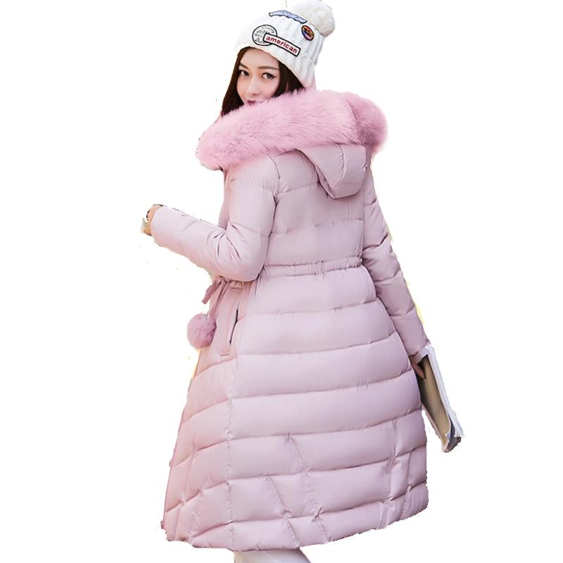 Long slim warm women winter jacket hooded big fur collar cotton padded black parka coat outerwearcasacos de inverno femininoÎäåæäà è àêñåññóàðû<br><br>
