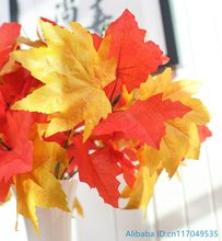 1 PCS Beautiful Artificial Red and Yellow Maple Leaves Bunch Plastic Plant Home Wedding Decoration Gift F379
