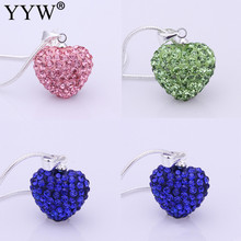 2017 Women Jewelry Rhinestone Fashion Heart Pendant Necklace Blue Pink Silver Plated Crystal Heart Shamballa Necklace Pendant