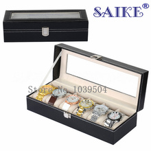 Standard 6 Grids Leather Watch Display Box Wholesale PU Leather Watch Box Upscale Solid Watch Packing Box Gift Box D016