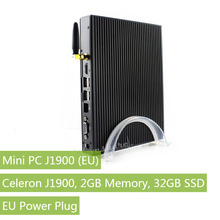 Celeron J1900 Mini PC 2GB Memory 32GB SSD Hard Drive supports Windows 7/8/10, Linux Desktop Computer with with EU Power Plug(China)