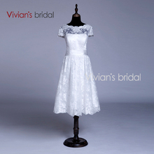 Vivian's Bridal Custom Made Short Sleeves Knee Length Wedding Dress Short Lace Bride Dress Gown Vintage Style VB039