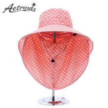 [AETRENDS] 2017 Summer Women Bucket Hats for Women Wide Brim Beach Sun Hat with Mask for Full UV Protection Ladies Cap Z-5159()
