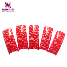 Hot 70 pcs Chinese Red Heart Pattern Pre Design French Airbrush Nail Art Tips False Nail Tips Designer Acrylic Nails Fake Tips(China)
