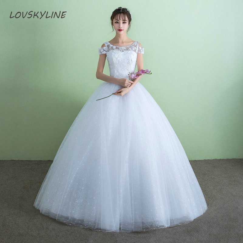 Simple Puffy Wedding Dresses Appliques Lace Embroidery O Neck Short Sleeve Princess Wedding Dress New Fashion Custom Sizes
