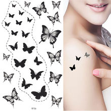 King Horse Waterproof black butterflies temporary tatoo stckers 17X10CM Temporary Tattoo Sticker(China)