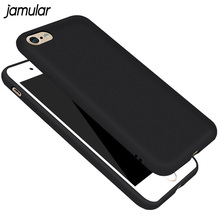 JAMULAR Black Matte Rubber Phone Case for iPhone 6 6s 8 Plus 5s SE Shockproof Silicone Back Cover for iPhone 7 8 Plus 6 6s Cases