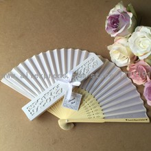 Free shipping 50Sets/Lot Personalized Bride & Groom's name & Wedding date Silk Hand Fan with Luxury Laser-Cut Gift Box + card
