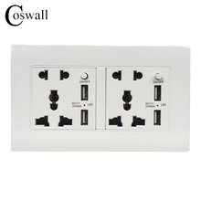 Coswall Brand Wall Power Socket Double Universal 5 Hole Outlet With 2100mA 4 USB Quick Charger Port for Mobile 146mm*86mm()