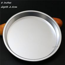 New 8 inches 2.5cm depth aluminium alloy round pizza pans stones pie pan metal cake baking mold for DIY household bakeware tools(China)