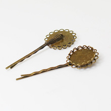 Blank Bobby Pins Bases Settings with Round Double Lace Bezel pads Glass Cabochon Hairpins Hair Clips Crafts Findings Bronze tone