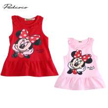Minnie Mouse Baby Girl Summer Dress 2Colors Red Pink Cartoon Cute Vestido Minnie Printed Bebes 2017 Adorable Clothing Set Sunsui