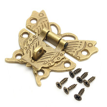 Beautiful Butterfly Design Antique Bronze Hasp Latch Jewelry Wooden Box Lock Cabinet Buckle Case Locks Handle Hardware(China)