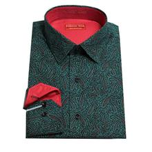 man's dark green with printed wine red paisley cotton dress shirt ,custom tailor made designer bespoke shirt , free shipping