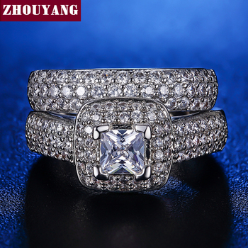 Luxo Branco Banhado A Ouro AAA CZ Anéis Moda Wedding & Engagement Ring Set For Women ZYR568