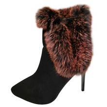 Sexy High Heel Boots Women Rabbit Fur Pointed Toe Ankle Boots Winter Warm Plush Cotton Shoes(China)