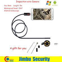 "8mm*5m newest 2 IN 1 Android and PC Endoscope Borescope Inspection Wire Camera 6 LED 1/9"" CMOS Mini USB Smartphone Camera"