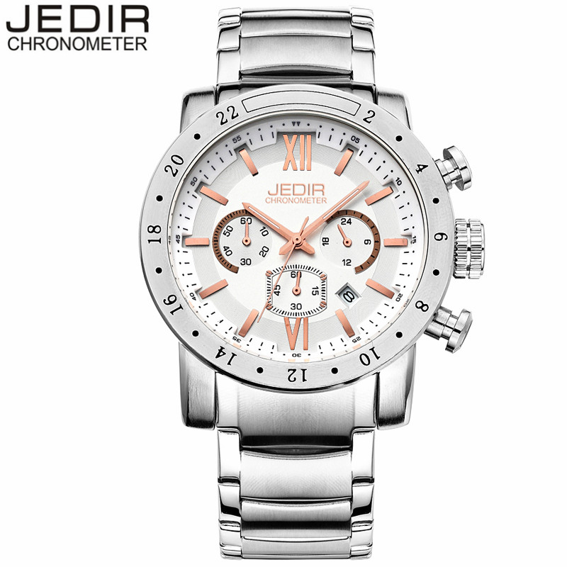 Watches Men 2017 JEDIR Brand Luxury Stainless Steel Quartz Watch Chronograph Luminous Clock Male Sports Waterproof Wristwatch<br><br>Aliexpress