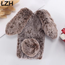Buy 3D Cute Warm Rabbit Doll Furry Fur Plush Soft TPU Fundas Case Sony Xperia L1 Long Ear Bunny Diamond Bowknot Coque Back Cover for $7.86 in AliExpress store