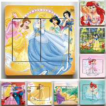 Very Cute and Nice Snow White Switch Stickers,3D Cartoon Snow White Wall Stickers,For Children Room Decor Light Switch sticker
