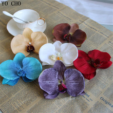 DIY orchid silk flowers head Artificial flower heads Butterfly orchid head wedding flower headdress corsage decoration flowers