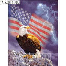 American flag and eagle 5D DIY diamond painting cross stitch kits full round diamond embroidery animals mosaic painting KL927(China)