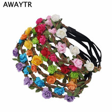 AWAYTR Ladies Elastic Beach Hair Accessories Women Bride Flower Headband Bohemian Summer Style Rose Flower Crown Hair