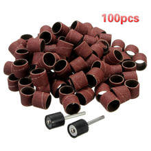 "100Pcs 1/2"" Sanding Bands Drums Sleeves 2 Mandrels For DREMEL Rotary Tools Kit Grits Olivary Nucleus Carving Drill Tool Tools(China)"