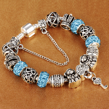 Authentic Silver Plated 925 Crown key Crystal Heart Charm Beads Pandora Bracelet Women DIY Jewelry(China)