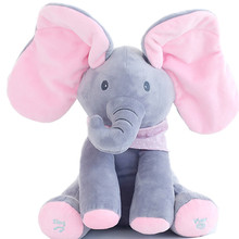 30cm New Peek-a-boo Elephant Stuffed Toy Soft Animal Toy Play Music Elephant Educational Anti-stress Toy Best Gifts for kids