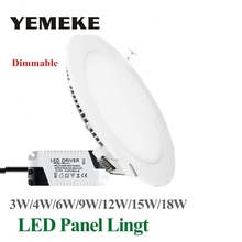 Dimmable LED Panel Light Ultra Thin Ceiling Recessed Downlight 3w 4w 5w 6w 9w 12w 15w 18w Round LED Spot Light AC85-265V