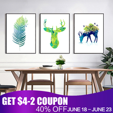 Modern Canvas Painting Green Leaf Art Print Poster Canvas Oil Painting Wall Pictures Living Room Decoration Design Home Decor(China)