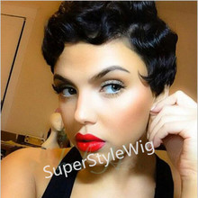 New Short black curly wig Afro African American Wigs for Black Women Star Fashion Synthetic Hair Free shipping