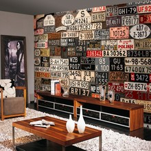 Custom mural Europe and the United States nostalgic retro license plate background wall wallpaper living room mural(China)