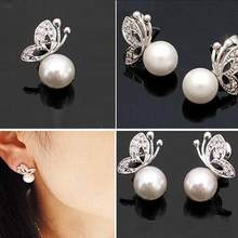 Tomtosh 2017 Fashion Quality Ladies Womens Lovely Pearl Rhinestone Butterfly Design Earrings jewelry