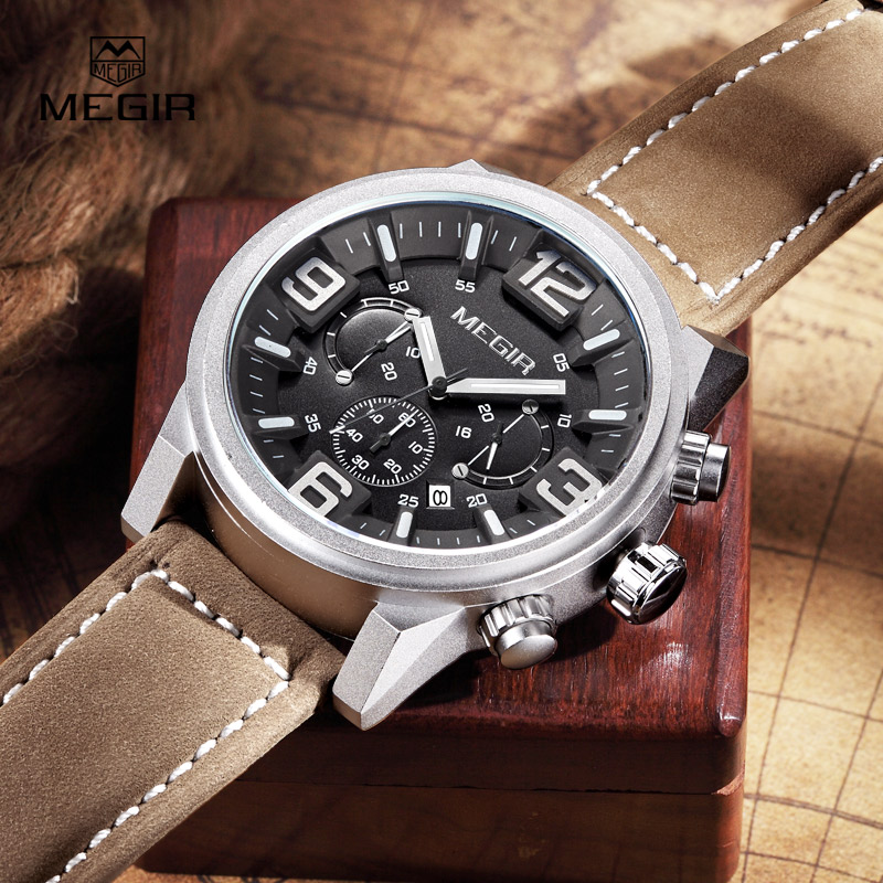 MEGIR new fashion casual quartz watch men large dial waterproof chronograph releather wrist watch relojes free shipping 3010<br>