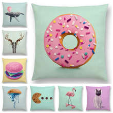 Hot Sale Pink Dream Colorful Fantasy Sexy Color Party Whale Flamingo Cat Hamburger Doughnut Cushion Cover Sofa Throw Pillow Case