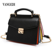 Rainbow Fashion PU Leather Panelled Handbag Vintage Women Messenger Bags Crossbody Bags for Women Handbags Women Famous Brands