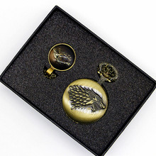 Retro Bronze Steampunk Pocket Watch Sets Game of Thrones House Strak Design Men Women Watch Necklace Pendant Gift