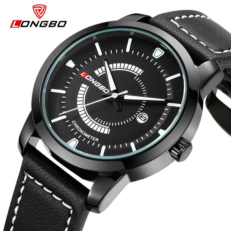 LONGBO Luxury Brand 2017 Leisure Sports Men Analog Wristwatches Military Quartz-watch Leather Date Calendar Waterproof 80203<br><br>Aliexpress